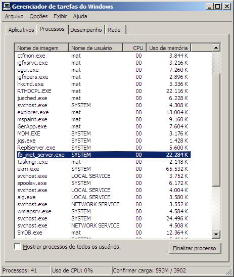 Configuração do Uso de Memória firebird CLASSIC SERVER