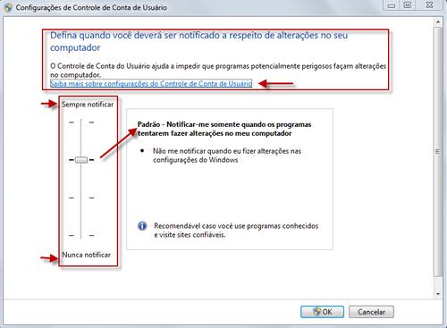 uac - Windows 7: desativar o controle de conta usuário UAC